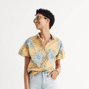 Madewell ruffle sleeve button down central shirt